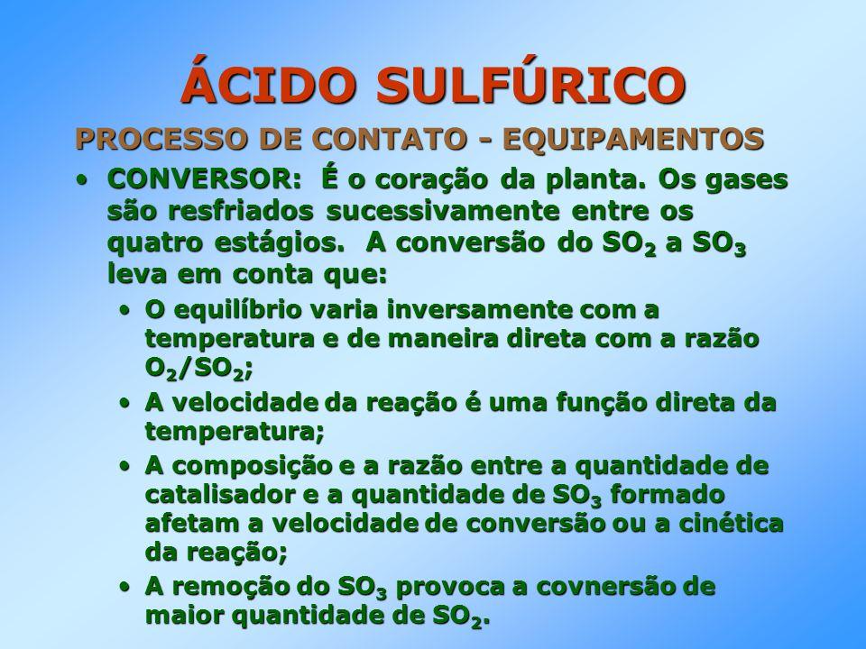 ÁCIDO SULFÚRICO PROCESSO DE CONTATO - EQUIPAMENTOS CONVERSOR: É o coração da planta. Os gases são resfriados sucessivamente entre os quatro estágios.