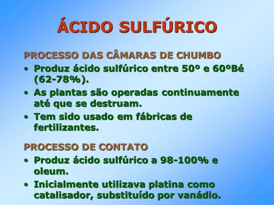 ÁCIDO SULFÚRICO PROCESSO DAS CÂMARAS DE CHUMBO Produz ácido sulfúrico entre 50º e 60ºBé (62-78%).Produz ácido sulfúrico entre 50º e 60ºBé (62-78%). As
