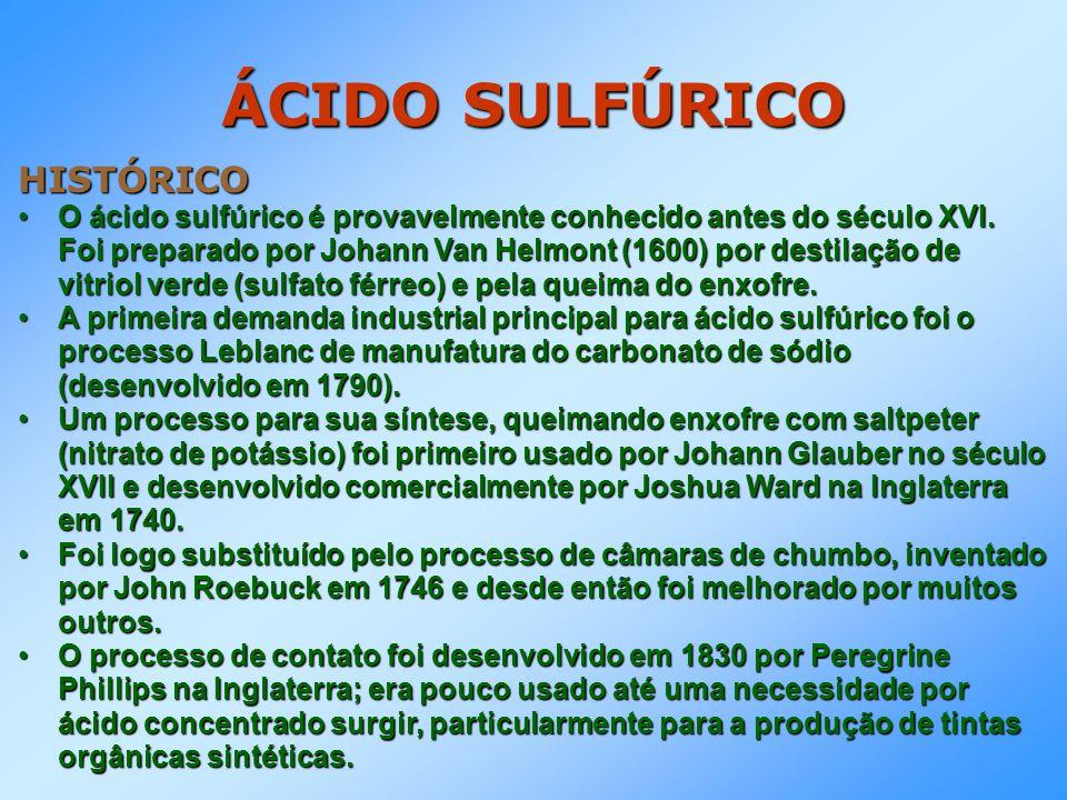 ÁCIDO SULFÚRICO HISTÓRICO O ácido sulfúrico é provavelmente conhecido antes do século XVI. Foi preparado por Johann Van Helmont (1600) por destilação