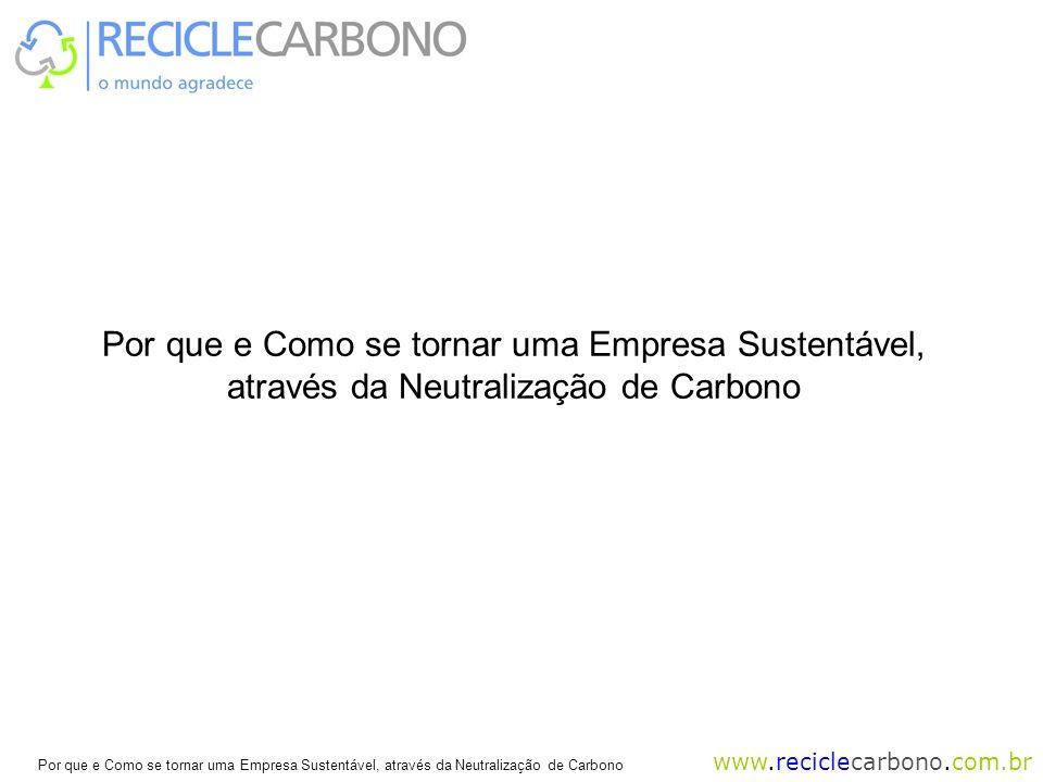 www.reciclecarbono.com.br Por que e Como se tornar uma Empresa Sustentável, através da Neutralização de Carbono