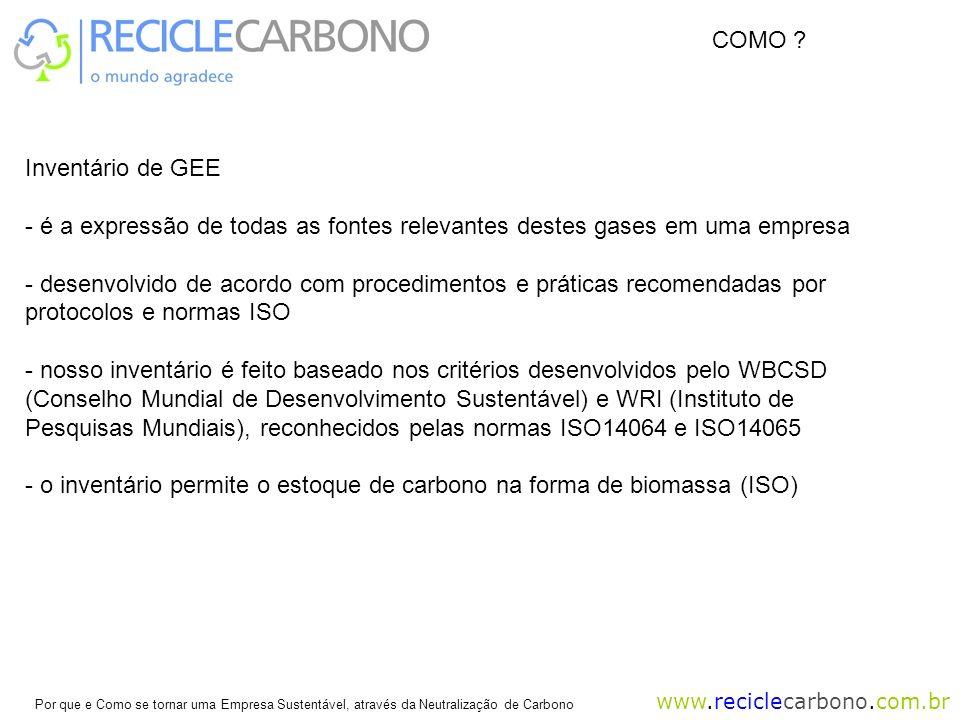 www.reciclecarbono.com.br Por que e Como se tornar uma Empresa Sustentável, através da Neutralização de Carbono Inventário de GEE - é a expressão de todas as fontes relevantes destes gases em uma empresa - desenvolvido de acordo com procedimentos e práticas recomendadas por protocolos e normas ISO - nosso inventário é feito baseado nos critérios desenvolvidos pelo WBCSD (Conselho Mundial de Desenvolvimento Sustentável) e WRI (Instituto de Pesquisas Mundiais), reconhecidos pelas normas ISO14064 e ISO14065 - o inventário permite o estoque de carbono na forma de biomassa (ISO) COMO ?