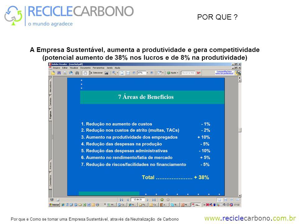 www.reciclecarbono.com.br Por que e Como se tornar uma Empresa Sustentável, através da Neutralização de Carbono A Empresa Sustentável, aumenta a produtividade e gera competitividade (potencial aumento de 38% nos lucros e de 8% na produtividade) POR QUE ?