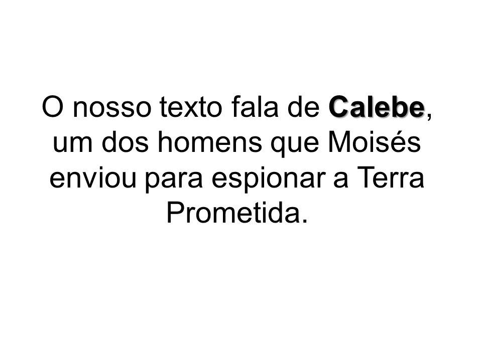 Calebe O nosso texto fala de Calebe, um dos homens que Moisés enviou para espionar a Terra Prometida.