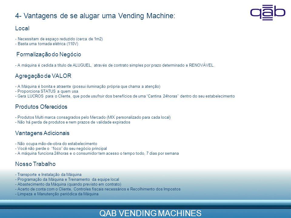 QAB VENDING MACHINES 4- Vantagens de se alugar uma Vending Machine: Local - Necessitam de espaço reduzido (cerca de 1m2) - Basta uma tomada elétrica (