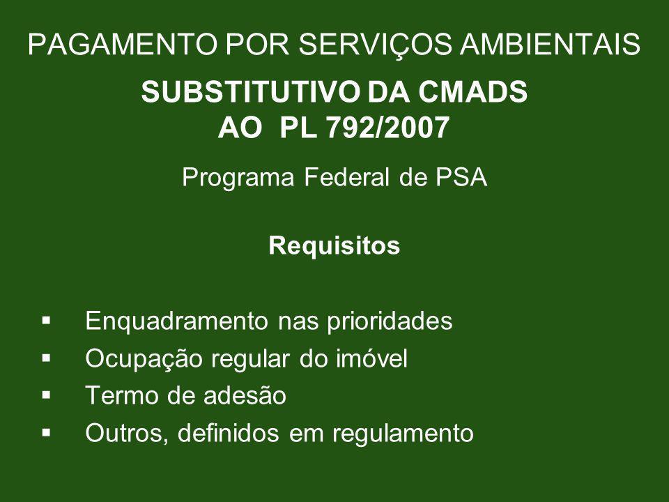 PAGAMENTO POR SERVIÇOS AMBIENTAIS SUBSTITUTIVO DA CMADS AO PL 792/2007 Programa Federal de PSA Requisitos Enquadramento nas prioridades Ocupação regul