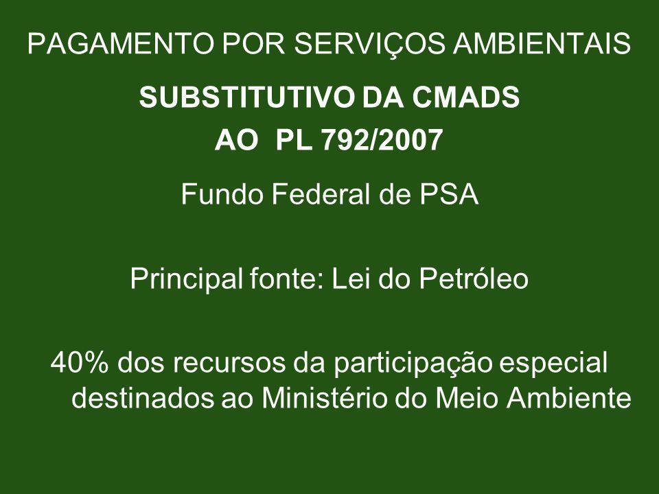 PAGAMENTO POR SERVIÇOS AMBIENTAIS SUBSTITUTIVO DA CMADS AO PL 792/2007 Fundo Federal de PSA Principal fonte: Lei do Petróleo 40% dos recursos da parti