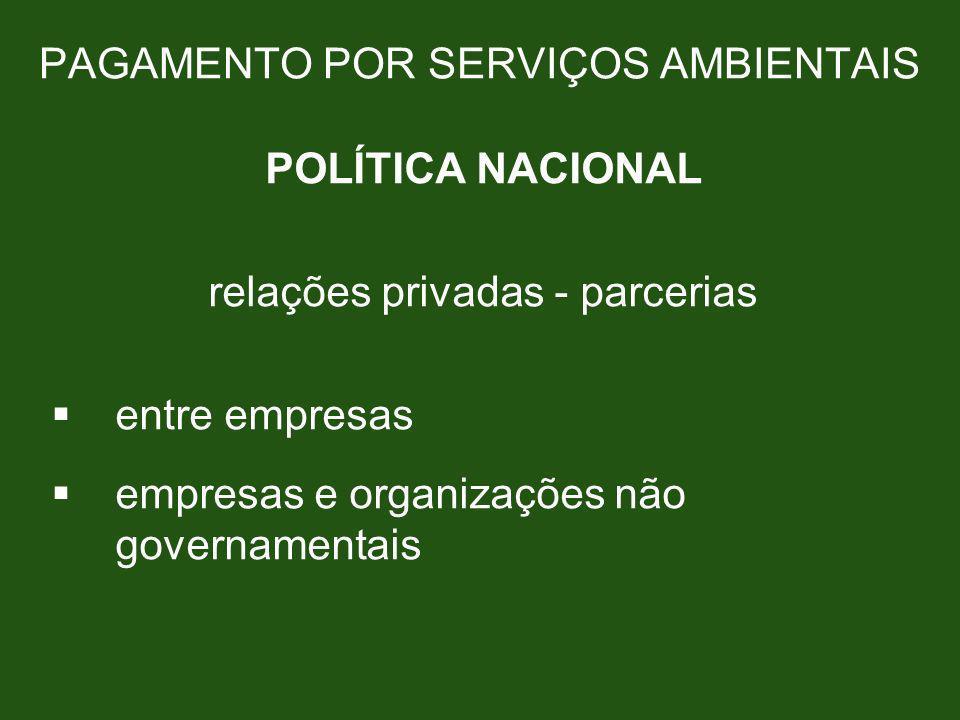 PAGAMENTO POR SERVIÇOS AMBIENTAIS POLÍTICA NACIONAL relações privadas - parcerias entre empresas empresas e organizações não governamentais