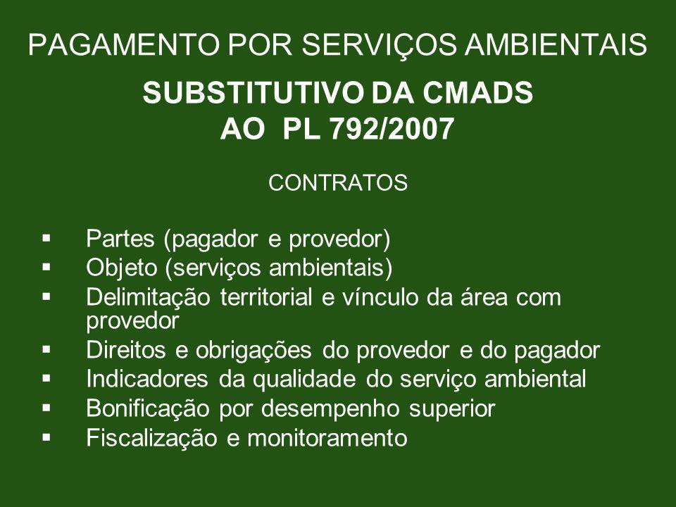 PAGAMENTO POR SERVIÇOS AMBIENTAIS SUBSTITUTIVO DA CMADS AO PL 792/2007 CONTRATOS Partes (pagador e provedor) Objeto (serviços ambientais) Delimitação