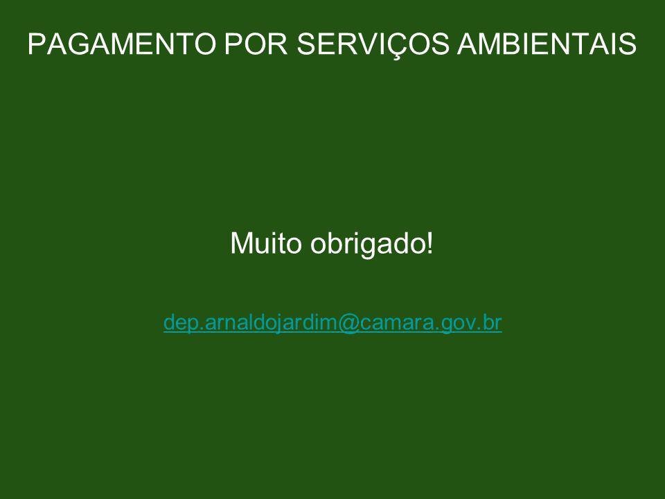 PAGAMENTO POR SERVIÇOS AMBIENTAIS Muito obrigado! dep.arnaldojardim@camara.gov.br
