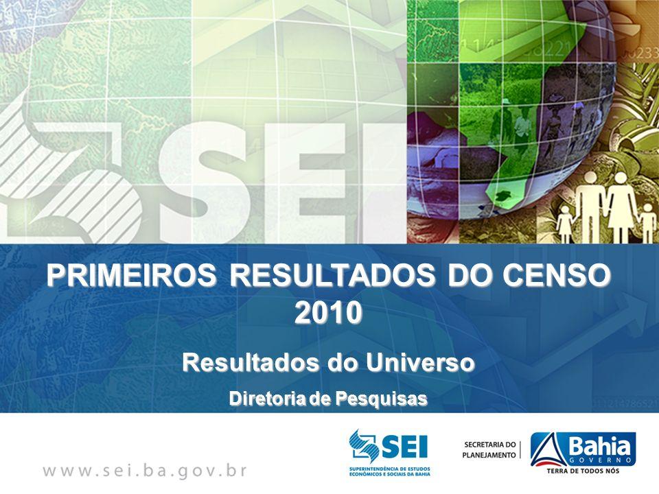PRIMEIROS RESULTADOS DO CENSO 2010 Resultados do Universo Diretoria de Pesquisas
