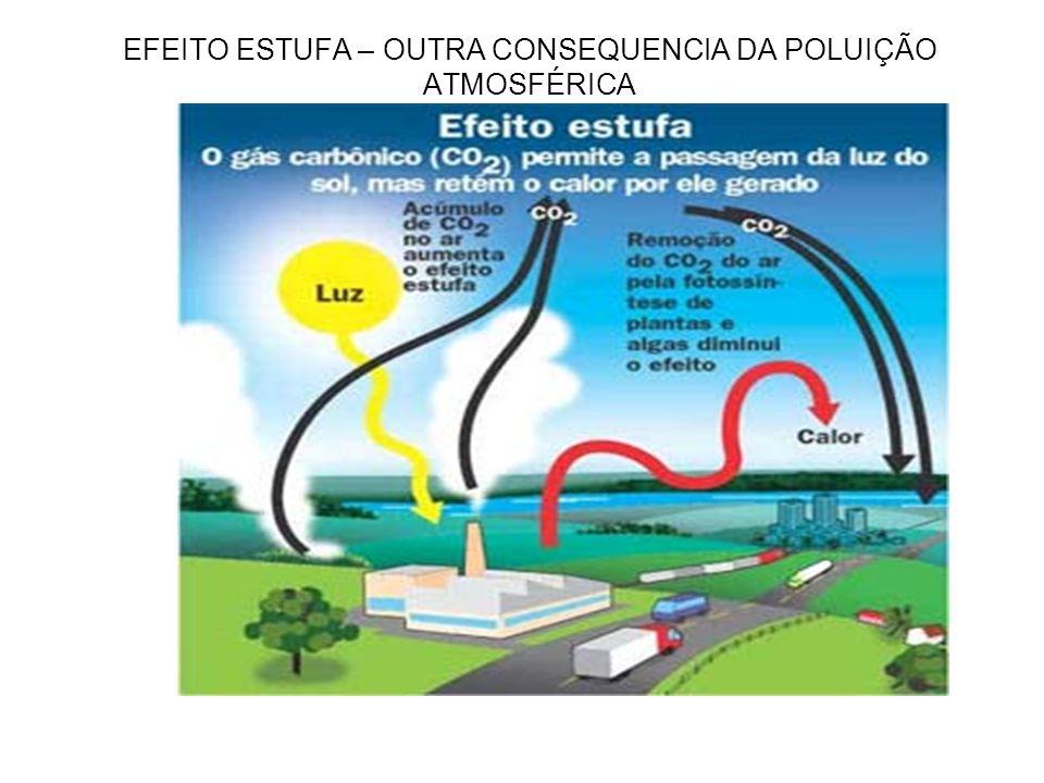 EFEITO ESTUFA – OUTRA CONSEQUENCIA DA POLUIÇÃO ATMOSFÉRICA