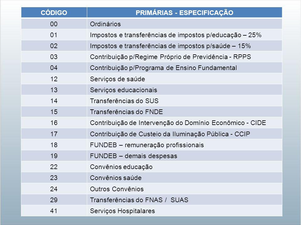CÓDIGOPRIMÁRIAS - ESPECIFICAÇÃO 00Ordinários 01Impostos e transferências de impostos p/educação – 25% 02Impostos e transferências de impostos p/saúde
