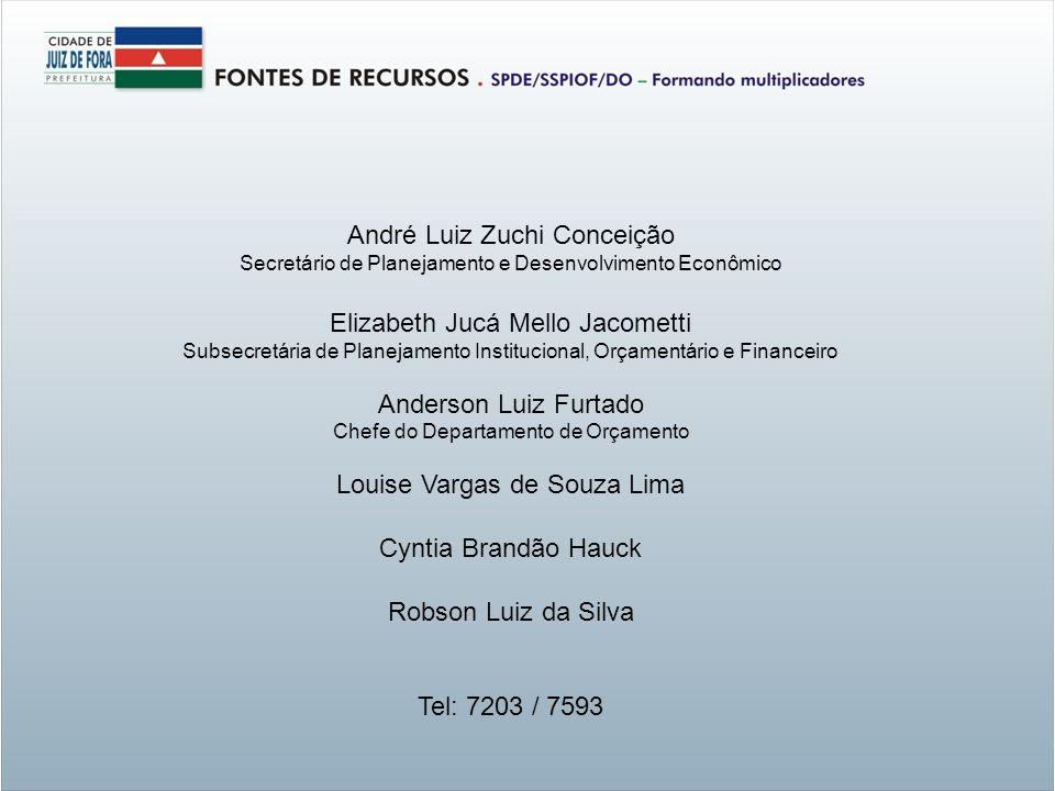 André Luiz Zuchi Conceição Secretário de Planejamento e Desenvolvimento Econômico Elizabeth Jucá Mello Jacometti Subsecretária de Planejamento Institu
