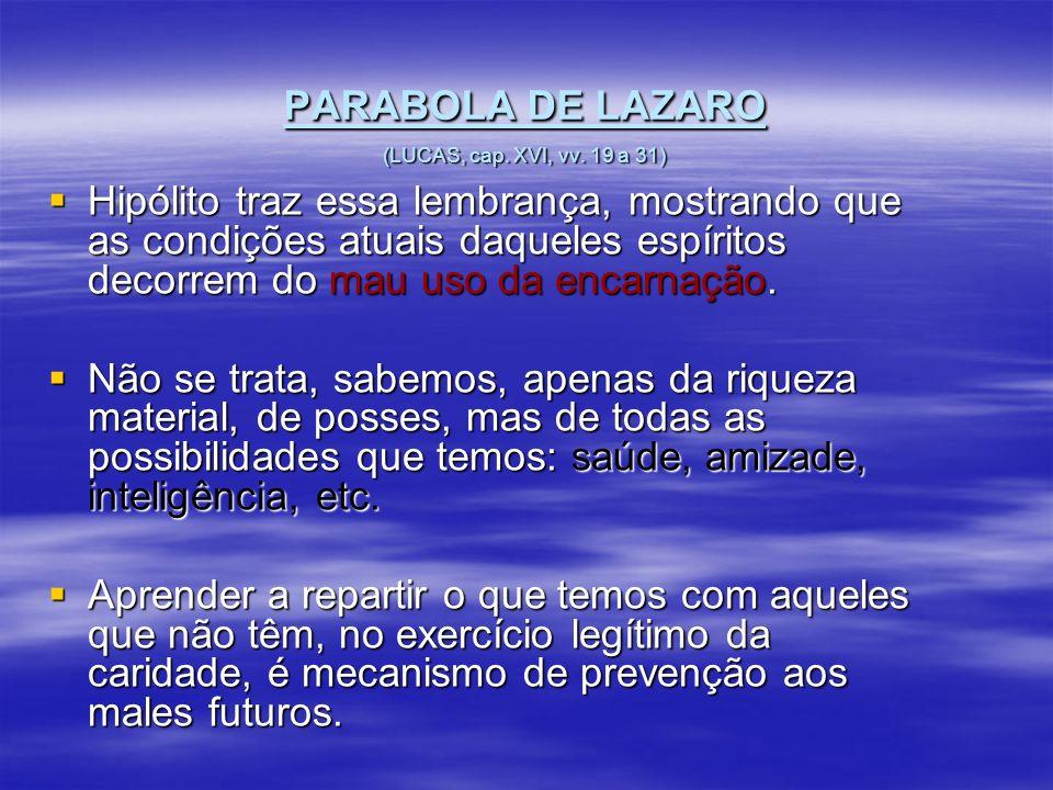 PARABOLA DE LAZARO (LUCAS, cap. XVI, vv. 19 a 31) Hipólito traz essa lembrança, mostrando que as condições atuais daqueles espíritos decorrem do mau u