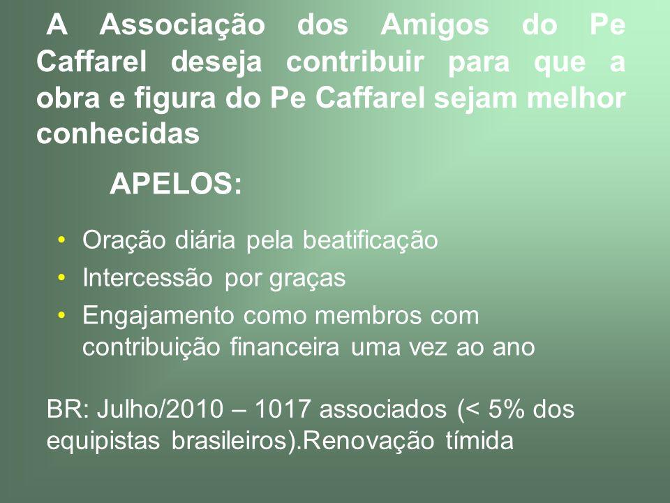 A Associação dos Amigos do Pe Caffarel deseja contribuir para que a obra e figura do Pe Caffarel sejam melhor conhecidas Oração diária pela beatificaç