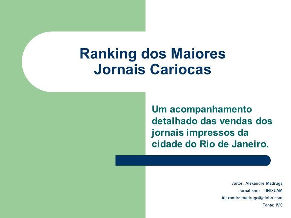 Ranking dos Maiores Jornais Cariocas Um acompanhamento detalhado das vendas dos jornais impressos da cidade do Rio de Janeiro. Autor: Alexandre Madrug