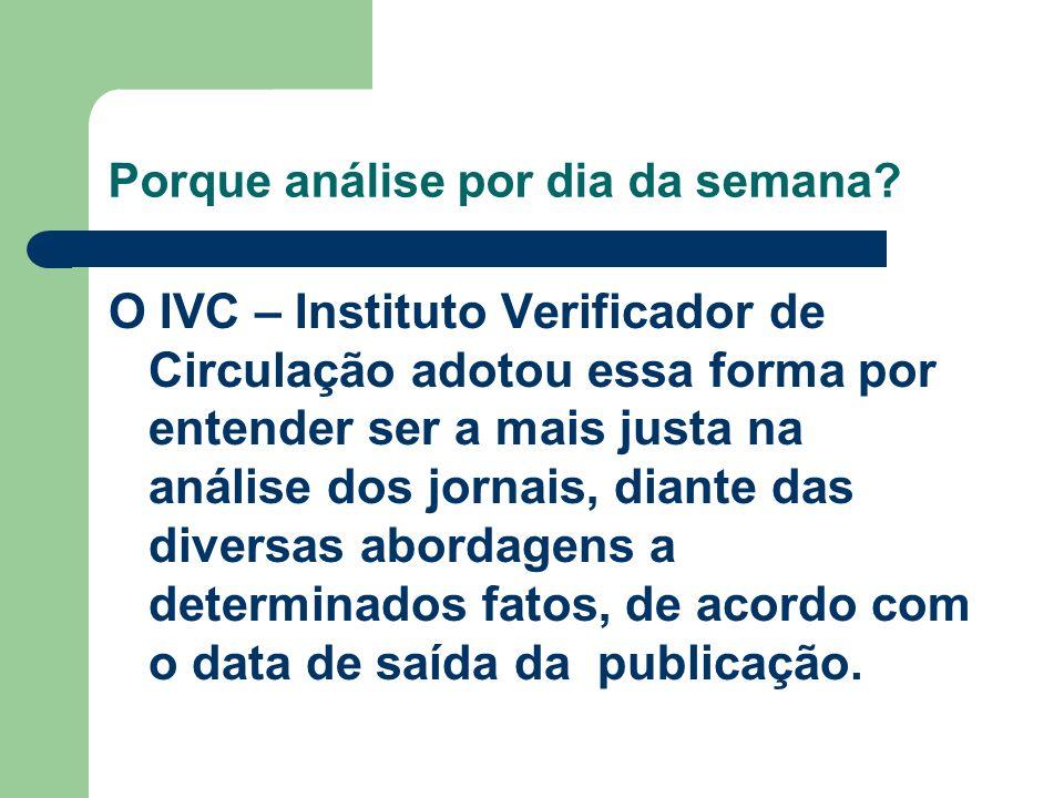 Porque análise por dia da semana? O IVC – Instituto Verificador de Circulação adotou essa forma por entender ser a mais justa na análise dos jornais,