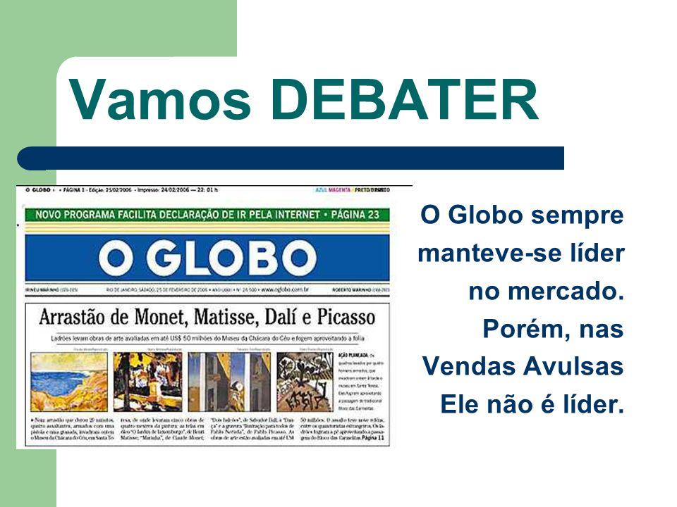 Vamos DEBATER O Globo sempre manteve-se líder no mercado. Porém, nas Vendas Avulsas Ele não é líder.