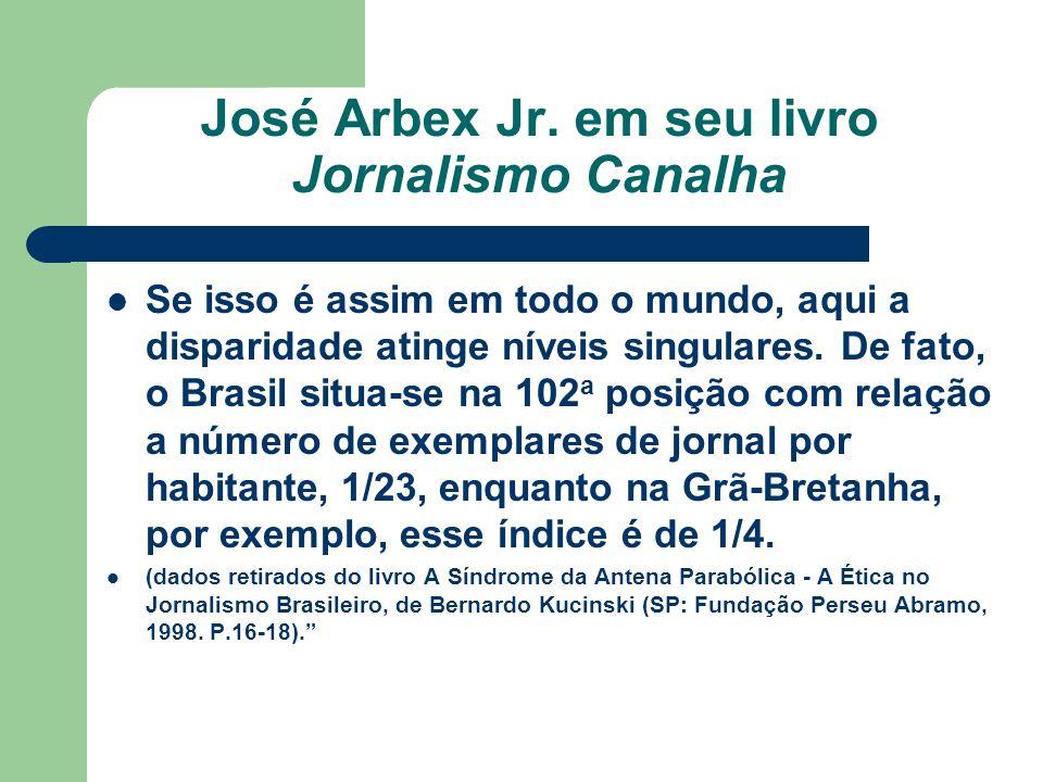 José Arbex Jr. em seu livro Jornalismo Canalha Se isso é assim em todo o mundo, aqui a disparidade atinge níveis singulares. De fato, o Brasil situa-s