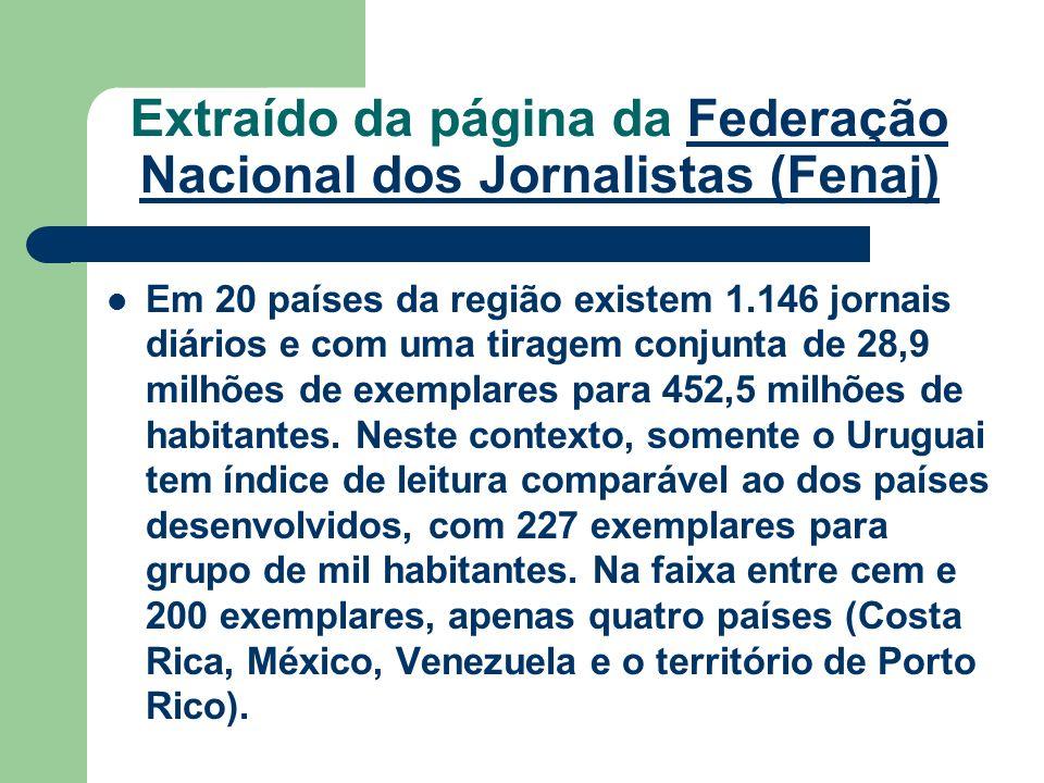 Extraído da página da Federação Nacional dos Jornalistas (Fenaj)Federação Nacional dos Jornalistas (Fenaj) Em 20 países da região existem 1.146 jornai
