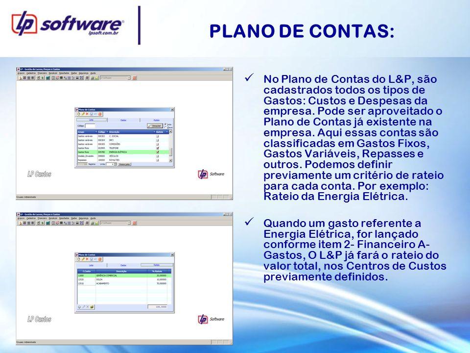 PLANO DE CONTAS: No Plano de Contas do L&P, são cadastrados todos os tipos de Gastos: Custos e Despesas da empresa. Pode ser aproveitado o Plano de Co
