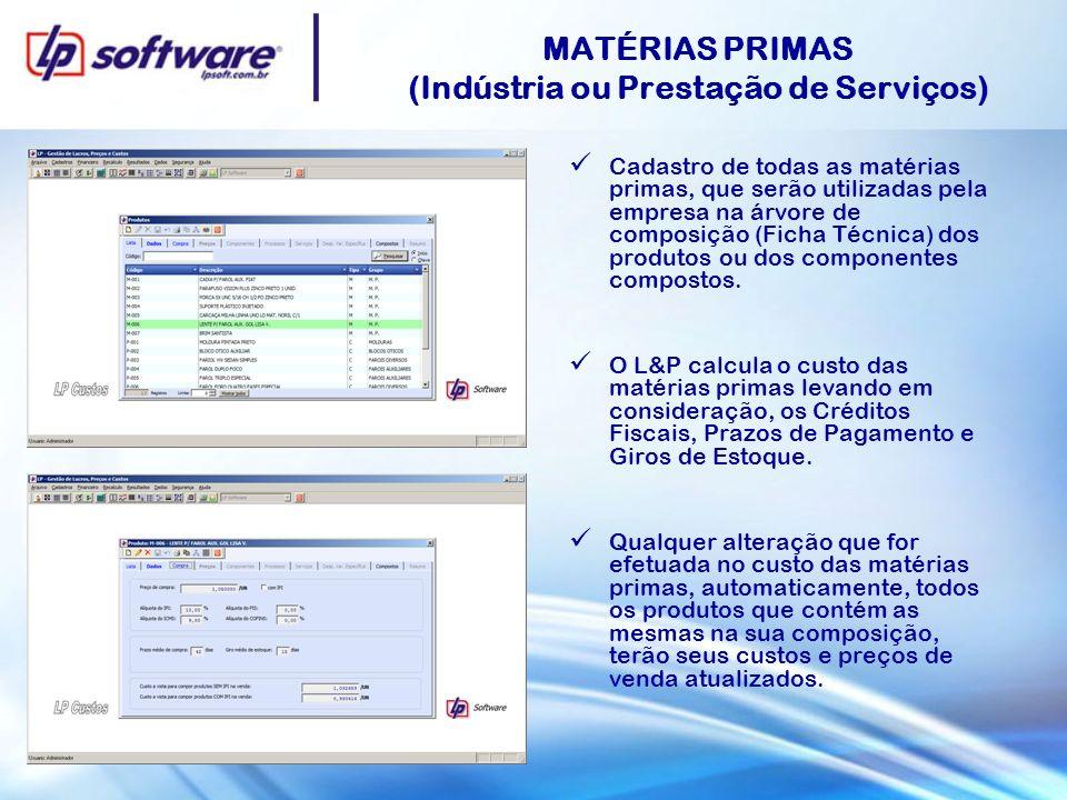 MATÉRIAS PRIMAS (Indústria ou Prestação de Serviços) Cadastro de todas as matérias primas, que serão utilizadas pela empresa na árvore de composição (