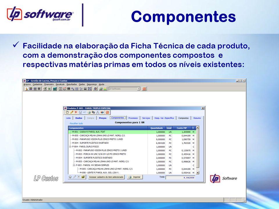 Componentes Facilidade na elaboração da Ficha Técnica de cada produto, com a demonstração dos componentes compostos e respectivas matérias primas em todos os níveis existentes: