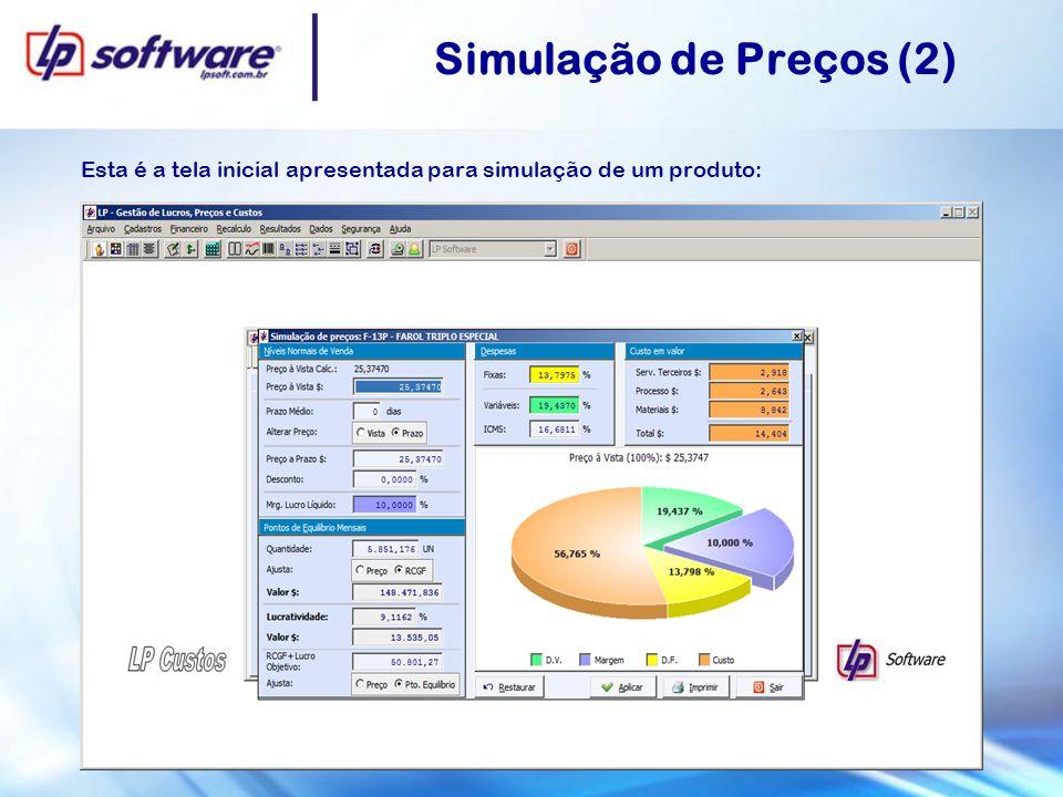 Esta é a tela inicial apresentada para simulação de um produto: Vide exemplo de simulação a seguir: Vide exemplo de simulação a seguir: Simulação de Preços (2)