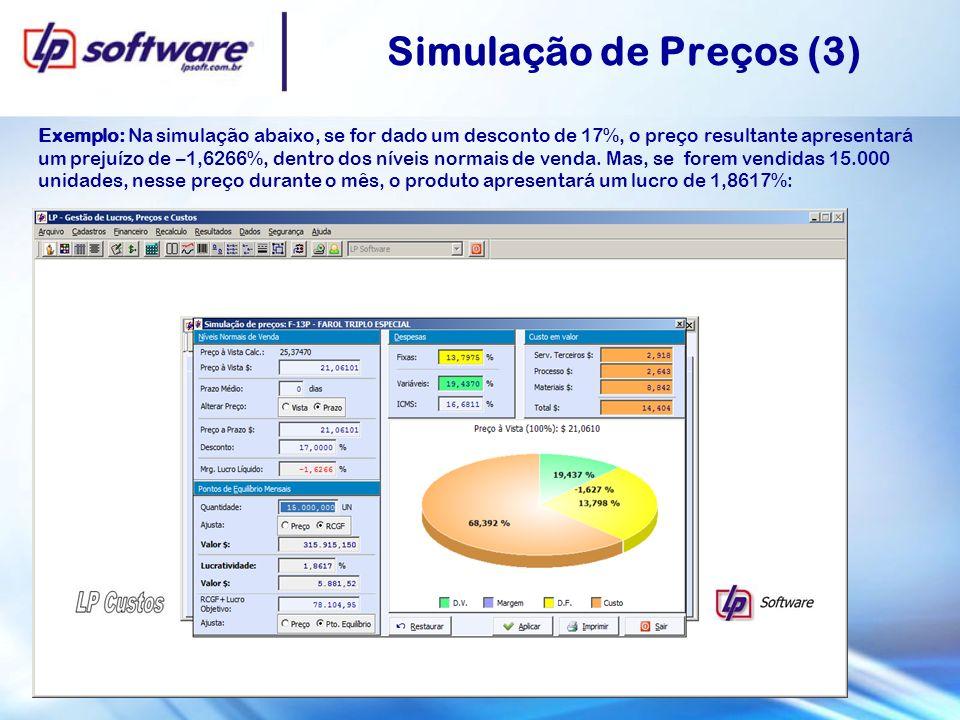 Simulação de Preços (3) Exemplo: Na simulação abaixo, se for dado um desconto de 17%, o preço resultante apresentará um prejuízo de –1,6266%, dentro dos níveis normais de venda.