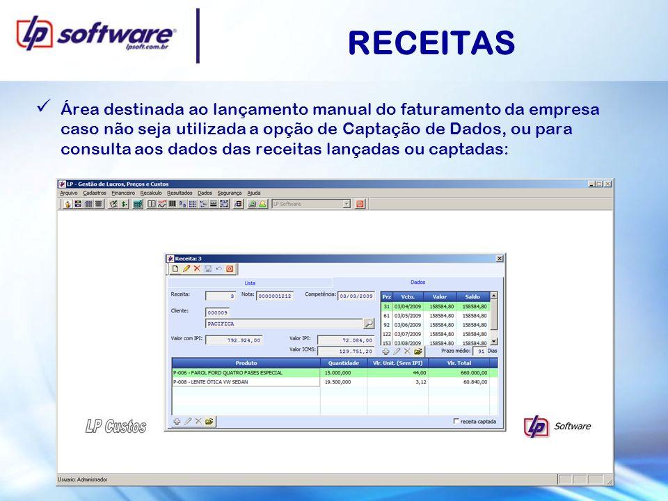 RECEITAS Área destinada ao lançamento manual do faturamento da empresa caso não seja utilizada a opção de Captação de Dados, ou para consulta aos dado