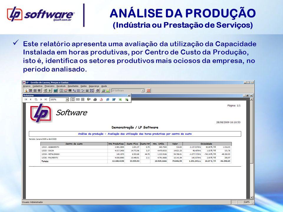 ANÁLISE DA PRODUÇÃO (Indústria ou Prestação de Serviços) Este relatório apresenta uma avaliação da utilização da Capacidade Instalada em horas produti
