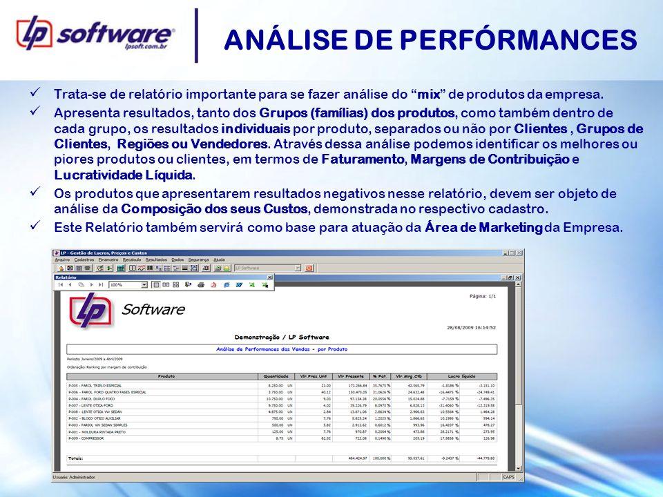ANÁLISE DE PERFÓRMANCES Trata-se de relatório importante para se fazer análise do mix de produtos da empresa. Apresenta resultados, tanto dos Grupos (