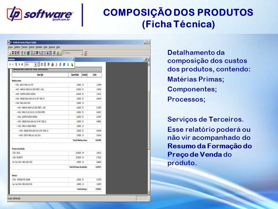 COMPOSIÇÃO DOS PRODUTOS (Ficha Técnica) Detalhamento da composição dos custos dos produtos, contendo: Matérias Primas; Componentes; Processos; Serviço