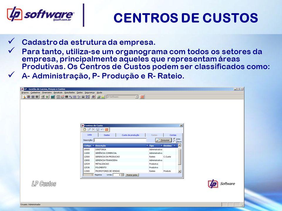 CENTROS DE CUSTOS Cadastro da estrutura da empresa.