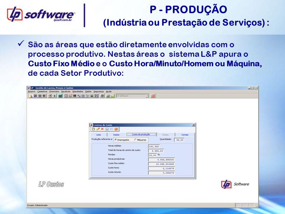 P - PRODUÇÃO (Indústria ou Prestação de Serviços) : São as áreas que estão diretamente envolvidas com o processo produtivo. Nestas áreas o sistema L&P