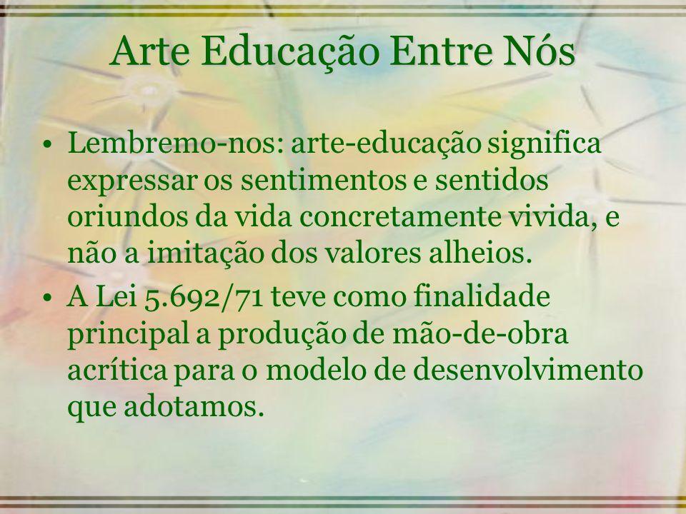 Arte Educação Entre Nós Lembremo-nos: arte-educação significa expressar os sentimentos e sentidos oriundos da vida concretamente vivida, e não a imita