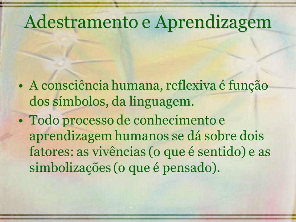 Adestramento e Aprendizagem A consciência humana, reflexiva é função dos símbolos, da linguagem. Todo processo de conhecimento e aprendizagem humanos
