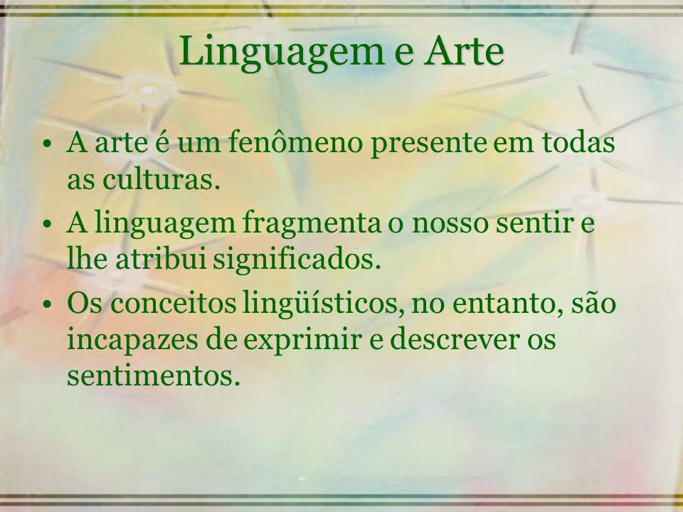 Linguagem e Arte A arte é um fenômeno presente em todas as culturas. A linguagem fragmenta o nosso sentir e lhe atribui significados. Os conceitos lin