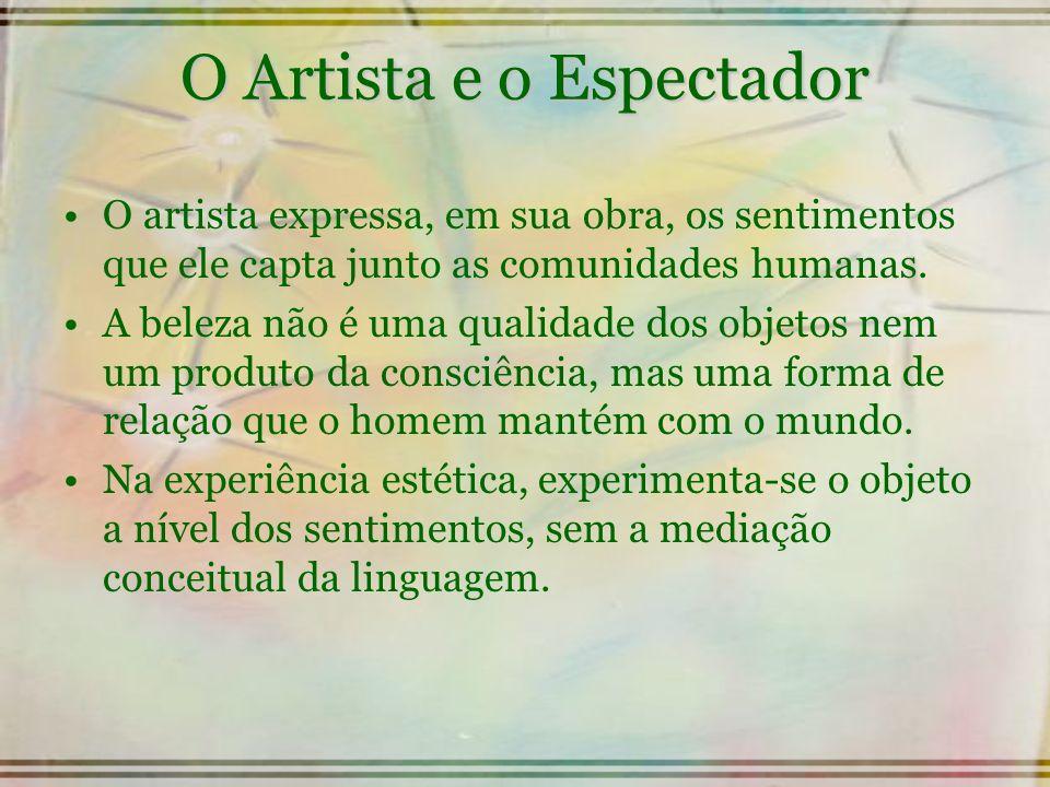 O Artista e o Espectador O artista expressa, em sua obra, os sentimentos que ele capta junto as comunidades humanas. A beleza não é uma qualidade dos