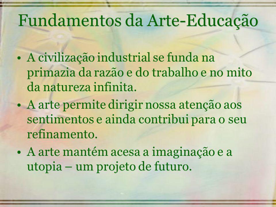 Fundamentos da Arte-Educação A civilização industrial se funda na primazia da razão e do trabalho e no mito da natureza infinita. A arte permite dirig