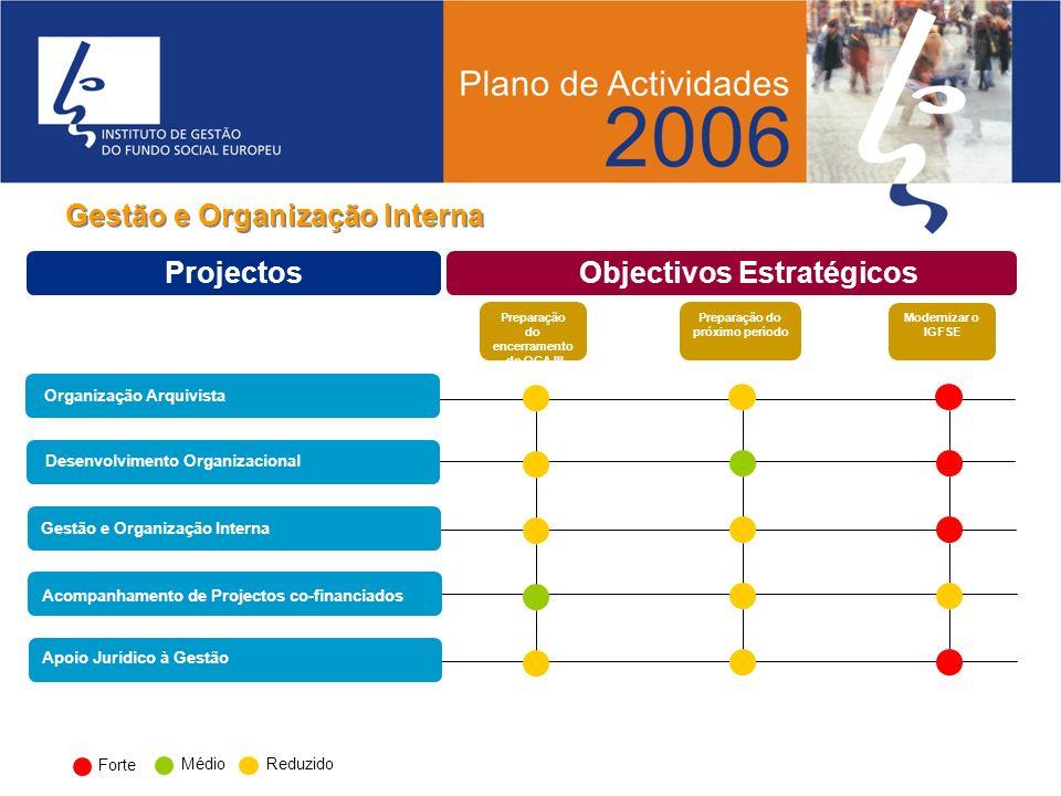 Gestão e Organização Interna Preparação do encerramento do QCA III Preparação do próximo período Modernizar o IGFSE Projectos Objectivos Estratégicos