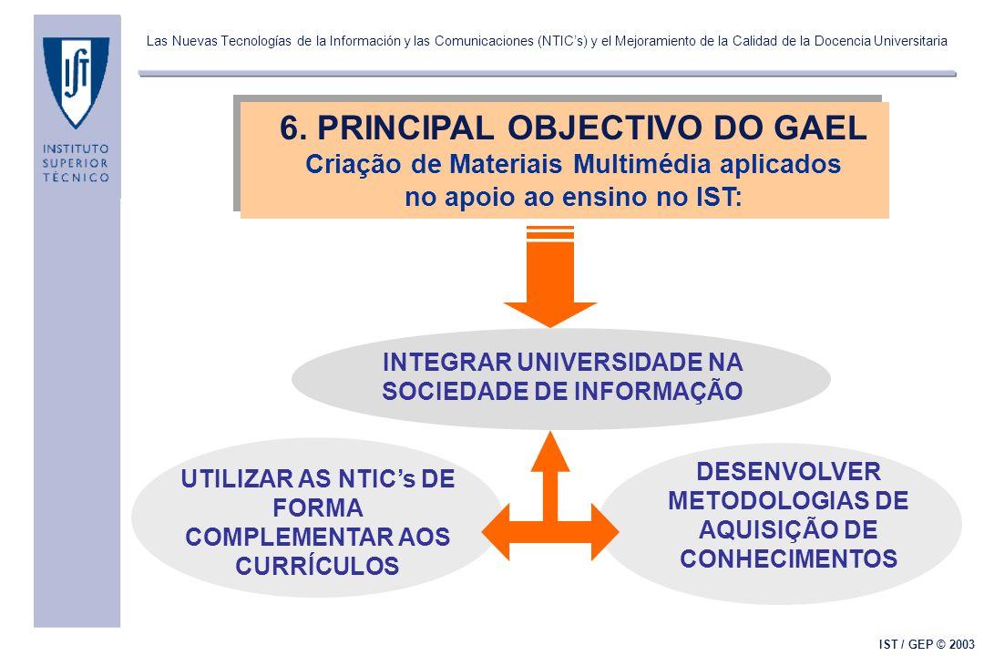 Las Nuevas Tecnologías de la Información y las Comunicaciones (NTICs) y el Mejoramiento de la Calidad de la Docencia Universitaria IST / GEP © 2003 6.