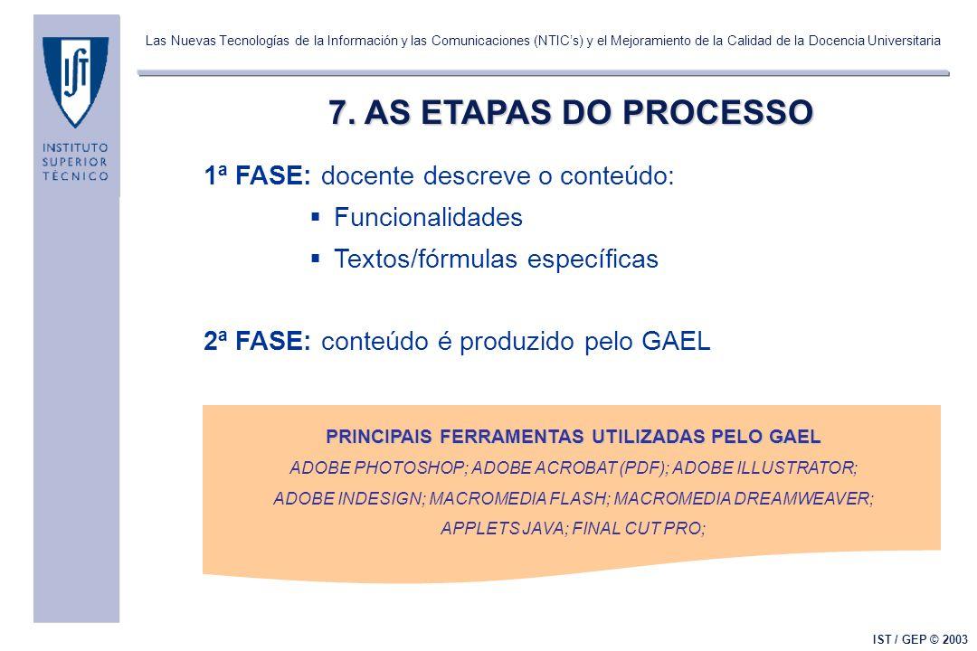 Las Nuevas Tecnologías de la Información y las Comunicaciones (NTICs) y el Mejoramiento de la Calidad de la Docencia Universitaria IST / GEP © 2003 7.