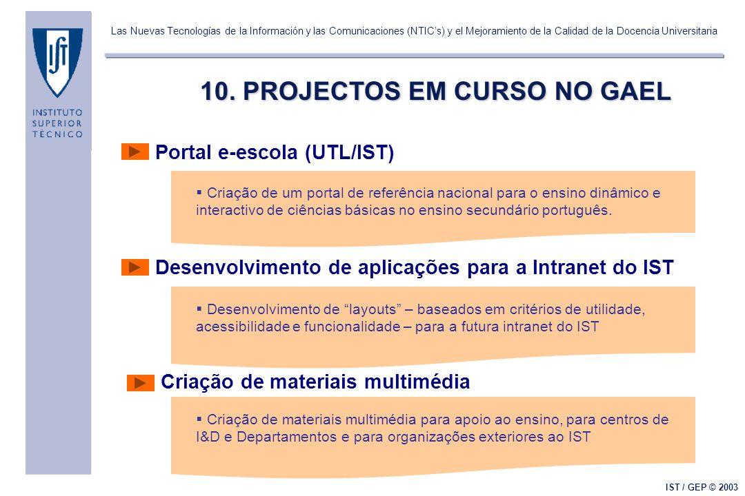 Las Nuevas Tecnologías de la Información y las Comunicaciones (NTICs) y el Mejoramiento de la Calidad de la Docencia Universitaria IST / GEP © 2003 10