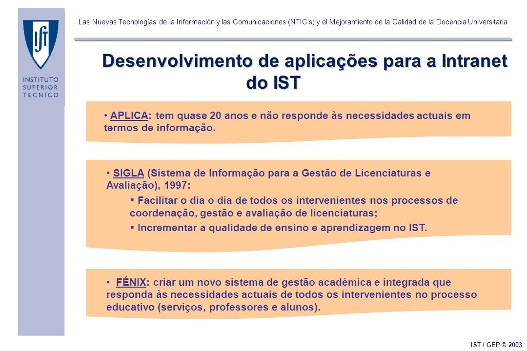 Las Nuevas Tecnologías de la Información y las Comunicaciones (NTICs) y el Mejoramiento de la Calidad de la Docencia Universitaria IST / GEP © 2003 Desenvolvimento de aplicações para a Intranet do IST APLICA: tem quase 20 anos e não responde às necessidades actuais em termos de informação.