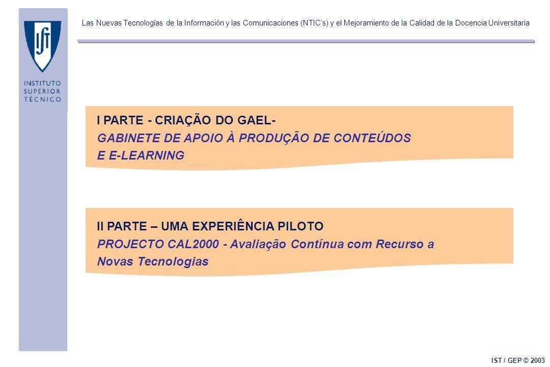 Las Nuevas Tecnologías de la Información y las Comunicaciones (NTICs) y el Mejoramiento de la Calidad de la Docencia Universitaria IST / GEP © 2003 Modelo de avaliação 8/9 listas de exercícios semanais resolvidos e corrigidos online (30%) 2/3 testes (30%) 1 exame final (40%) com nota mínima 7.5 em 20 Experiências no I.S.T.