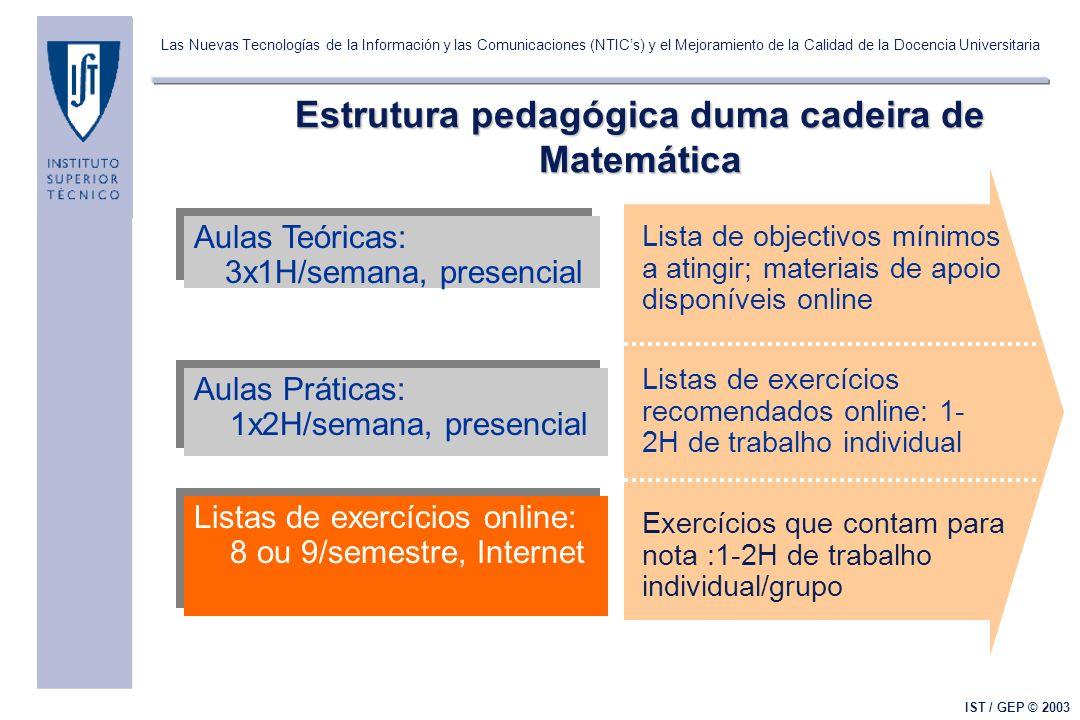 Las Nuevas Tecnologías de la Información y las Comunicaciones (NTICs) y el Mejoramiento de la Calidad de la Docencia Universitaria IST / GEP © 2003 Es