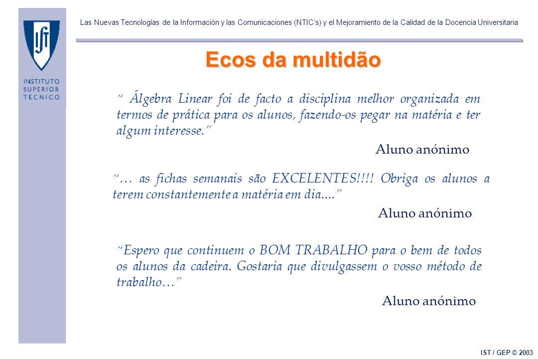 Las Nuevas Tecnologías de la Información y las Comunicaciones (NTICs) y el Mejoramiento de la Calidad de la Docencia Universitaria IST / GEP © 2003 Ec