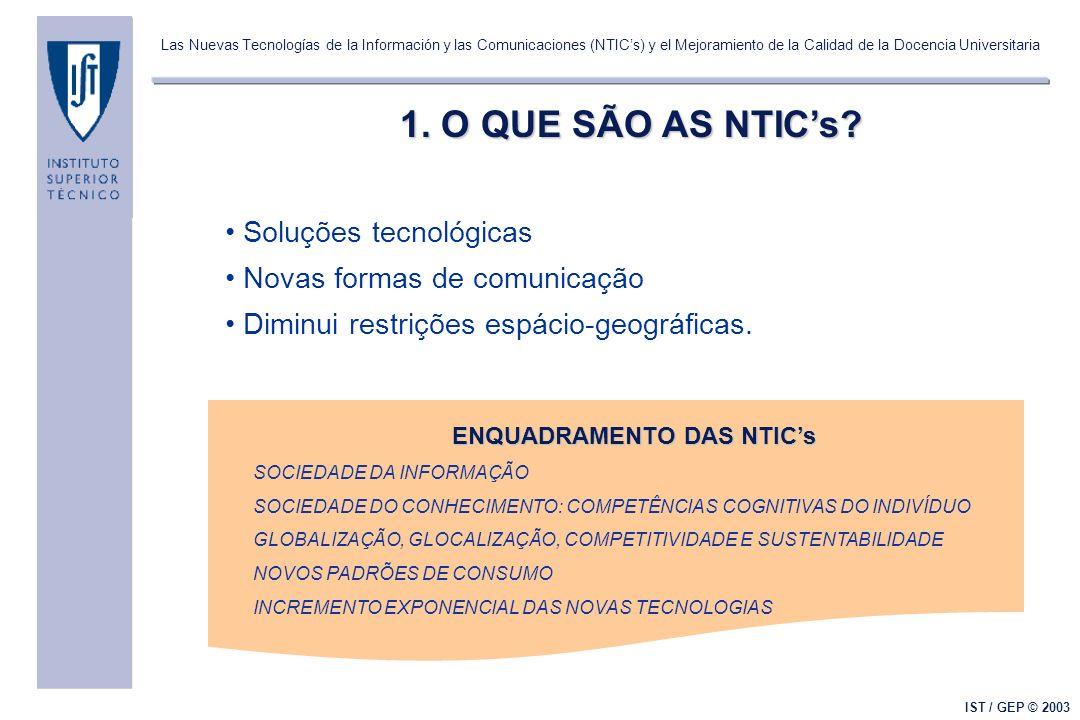 Las Nuevas Tecnologías de la Información y las Comunicaciones (NTICs) y el Mejoramiento de la Calidad de la Docencia Universitaria IST / GEP © 2003 2.