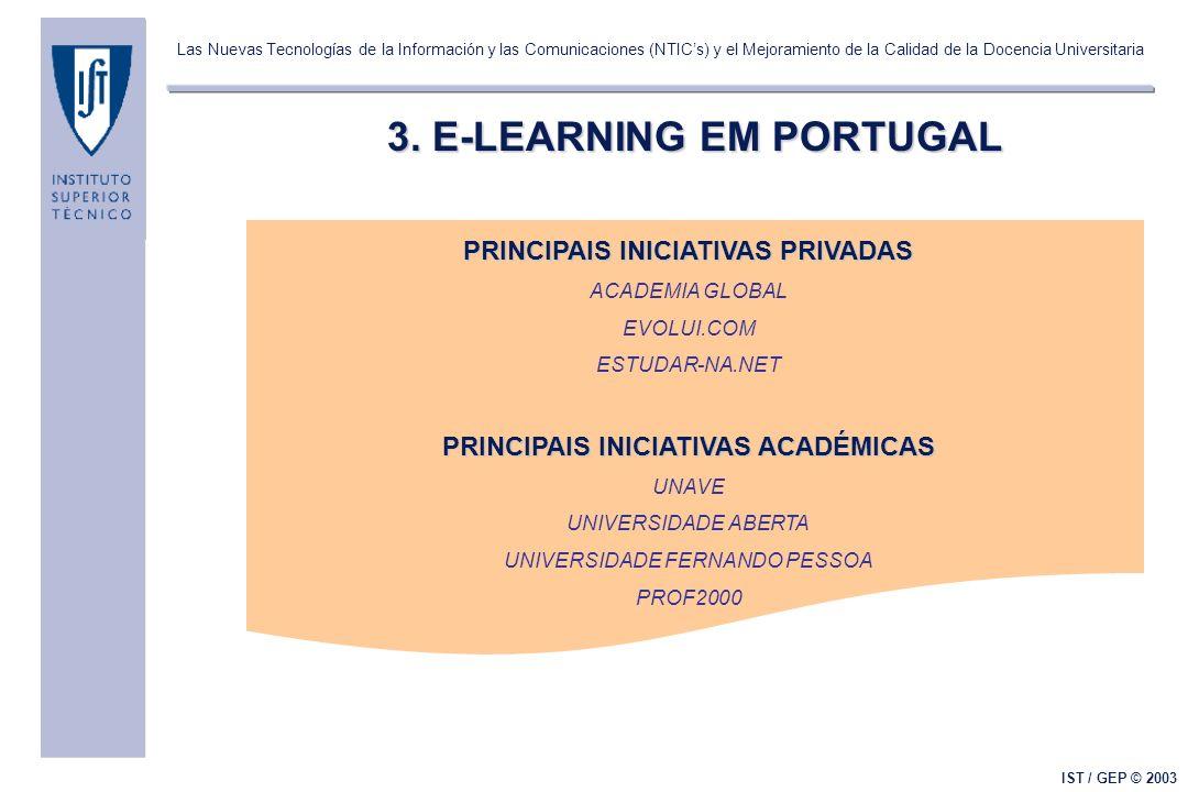 Las Nuevas Tecnologías de la Información y las Comunicaciones (NTICs) y el Mejoramiento de la Calidad de la Docencia Universitaria IST / GEP © 2003 4.